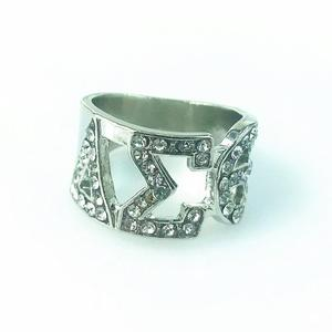 High Quality Silver Zircon GREEK Delta Sigma Theta SORORITY Finger Ring for women(China)