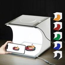 Puluz 20cm mini folding photo studio lightbox suave caixa de led painéis shadowless luz tiro tenda caixa com fundo fotografia