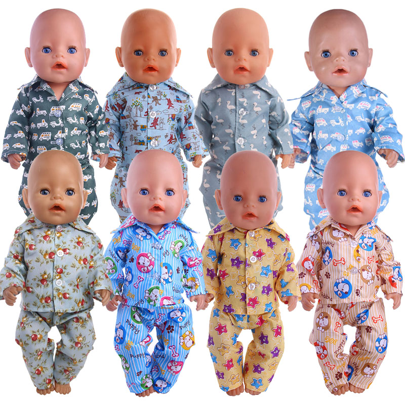 Doll Pajamas 15 Styles Pattern Clothes For 18 Inch American&43 Cm Born Baby Our Generation Christmas Birthday Girl's Gift