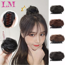 LM женские вьющиеся шиньон волосы на заколках для наращивания пучок волос для невест 4 Цвета Синтетические шиньон высокая температура шиньон