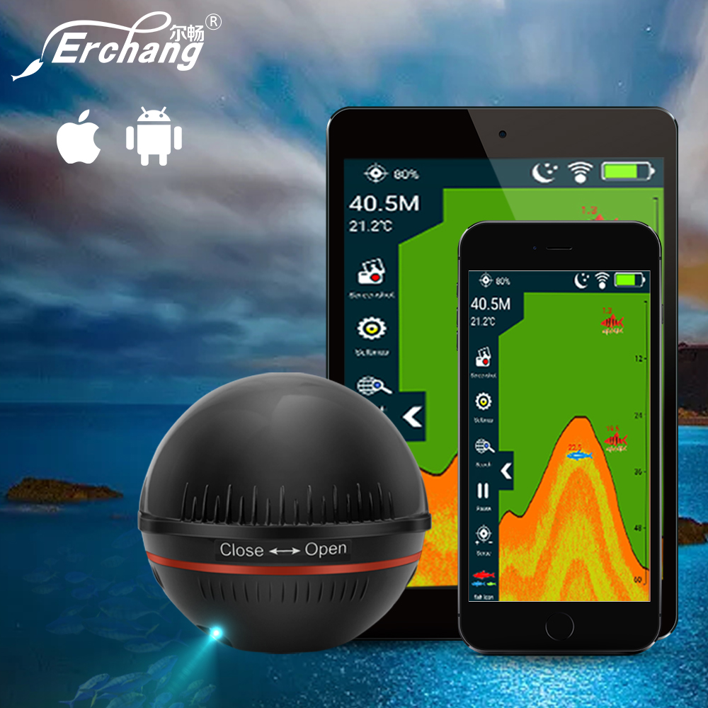 Erchang XA02 Portable Fish Finder In Russian Wireless Echo Sounder Fishfinder 48M/160ft Depth Sonar With Attracting Fish lamp