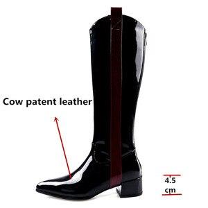 Image 3 - Fedonas 따뜻한 롱 부츠 나이트 클럽 신발 여성 2020 가을 겨울 암소 특허 가죽 여성 니 하이 부츠 지퍼 하이힐
