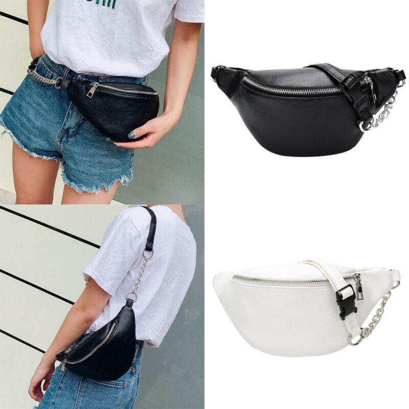 2019 Womens Waist Bag Fanny Pack Solid PU Bag Belt Purse Chains Female Fashion Zipper Small Purse Phone Key Pouch Chest Bag