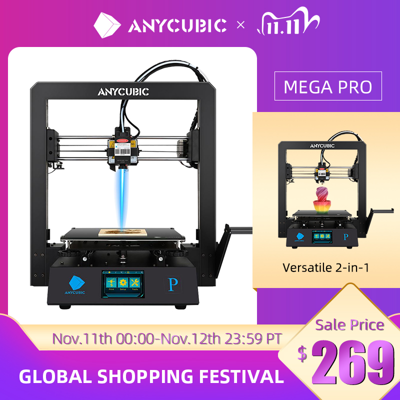 ANYCUBIC Mega Pro 3D Printer Printing Laser Engraving Touch Screen Printing TPU Filament Dual Gear E