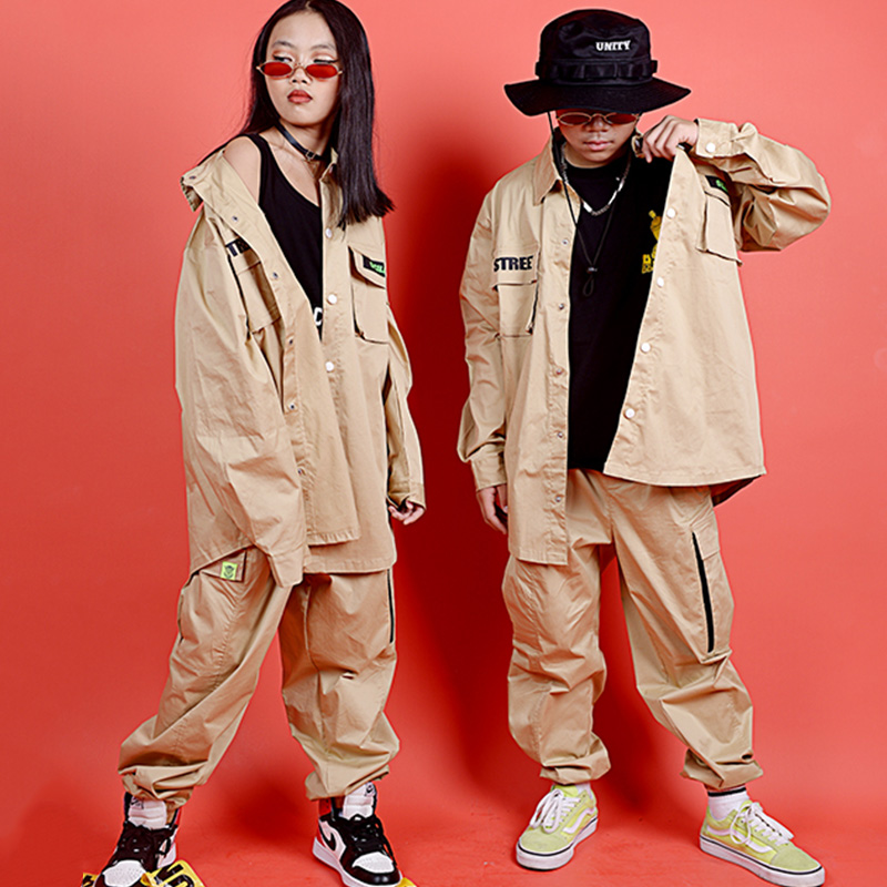 Hip Hop Costumes Street Dance Clothing Girls Boys Khaki Shirt Pants Stage Performance Wear Jazz Modern Dancing Outfit Kid DN4635