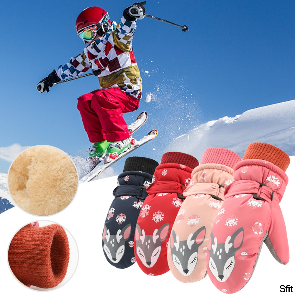 Sfit Children Winter Warm Ski Gloves Boys/Girls Sports Waterproof Windproof Non-slip Snow Mittens Extended Wrist Skiing Gloves