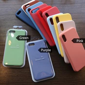 Перейти на Алиэкспресс и купить Оригинальный силиконовый чехол с логотипом для iPhone 6 6s 7 8 Plus 11 Pro X XS XR XSMAX, задняя крышка для телефона iPhone 11 Pro Max