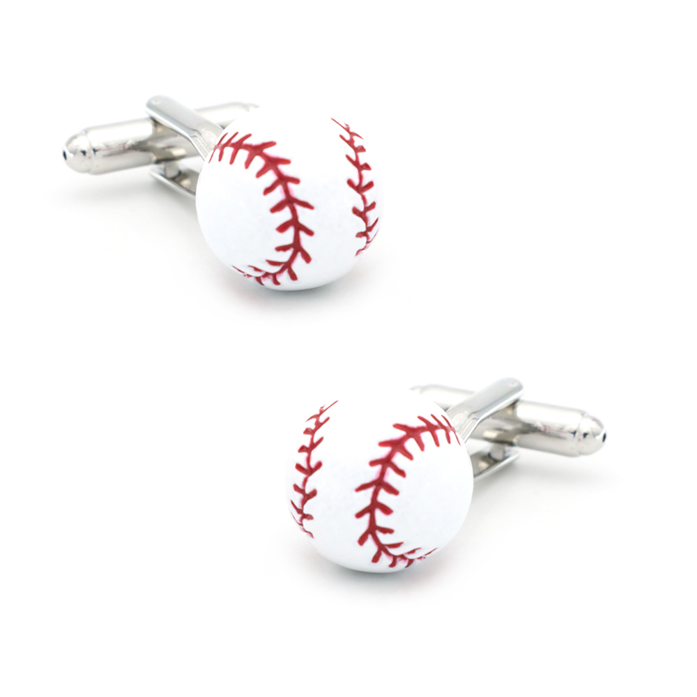 Baseball Design Sport Cufflinks For Men Quality Brass Material White Color Cuff Links Wholesale&retail