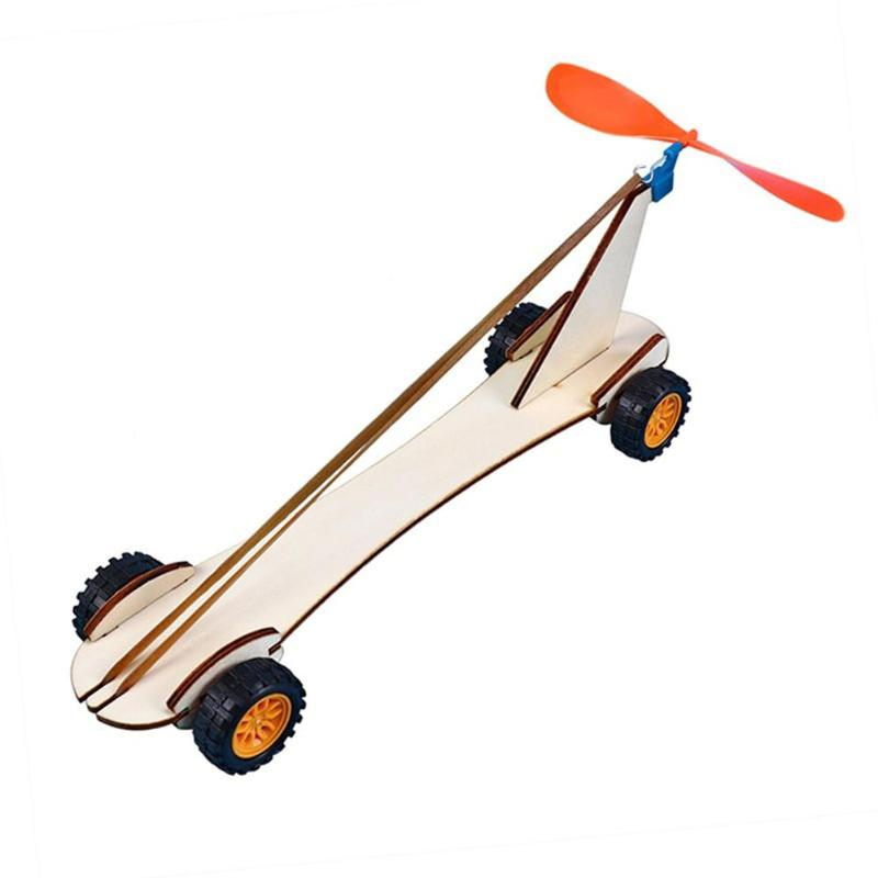 Rubber Band Power Car DIY Educational Science Kits Kids Experiment Fun Physics Toys STEM School Project Gift Wood Power Car