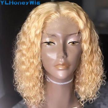 Blond 613 koronkowe peruki z przodu peruki z ludzkich włosów 13x4x1 kręcone krótkie Bob koronkowe peruki Tpart koronkowa peruka Water Wave Bob koronkowe peruki z przodu tanie i dobre opinie MISNEY SHORT Długie CN (pochodzenie) Włosy remy Ludzkie włosy Pół maszyny wykonane i pół ręcznie wiązanej WSZYSTKIE KOLORY
