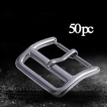 50pcs 16mm 18mm 20mm 22mm DIY Voor Apple/ Samsung Horloge band Gesp knop Roestvrij Staal Zilver gepolijst Horlogeband Pin Gespen