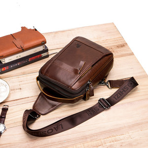 Image 3 - LAOSHIZI Brand Genuine Leather Top handle Handbag Men Chest Sling Pack Mens Shoulder Crossbody Bag Male Cowhide Messenger Bags