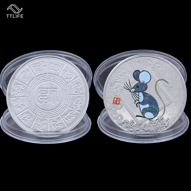 TTLIFE 1PC 2020 Year Of The Rat Challenge Coin Chinese Zodiac Souvenir Coin Silver Plated Non-currency Coins For Home Decoration