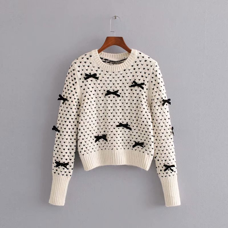 Leisure And Sweet Style Girls White Sweater With Bowknot 2019 Fashion New Women Black Jacquard Fabrics Simplicity Short Pullover