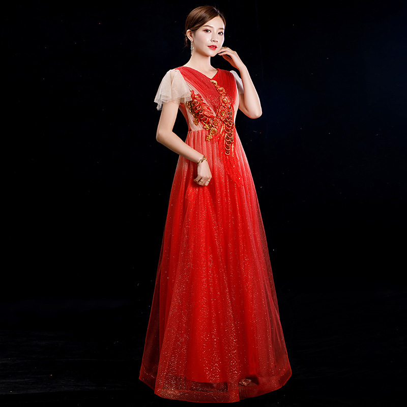 2020 New Real Vestido De Festa Adult Female Costumes Chorus Show Thin Host Party Evening Wear Short-sleeved Dress Bigger Sizes