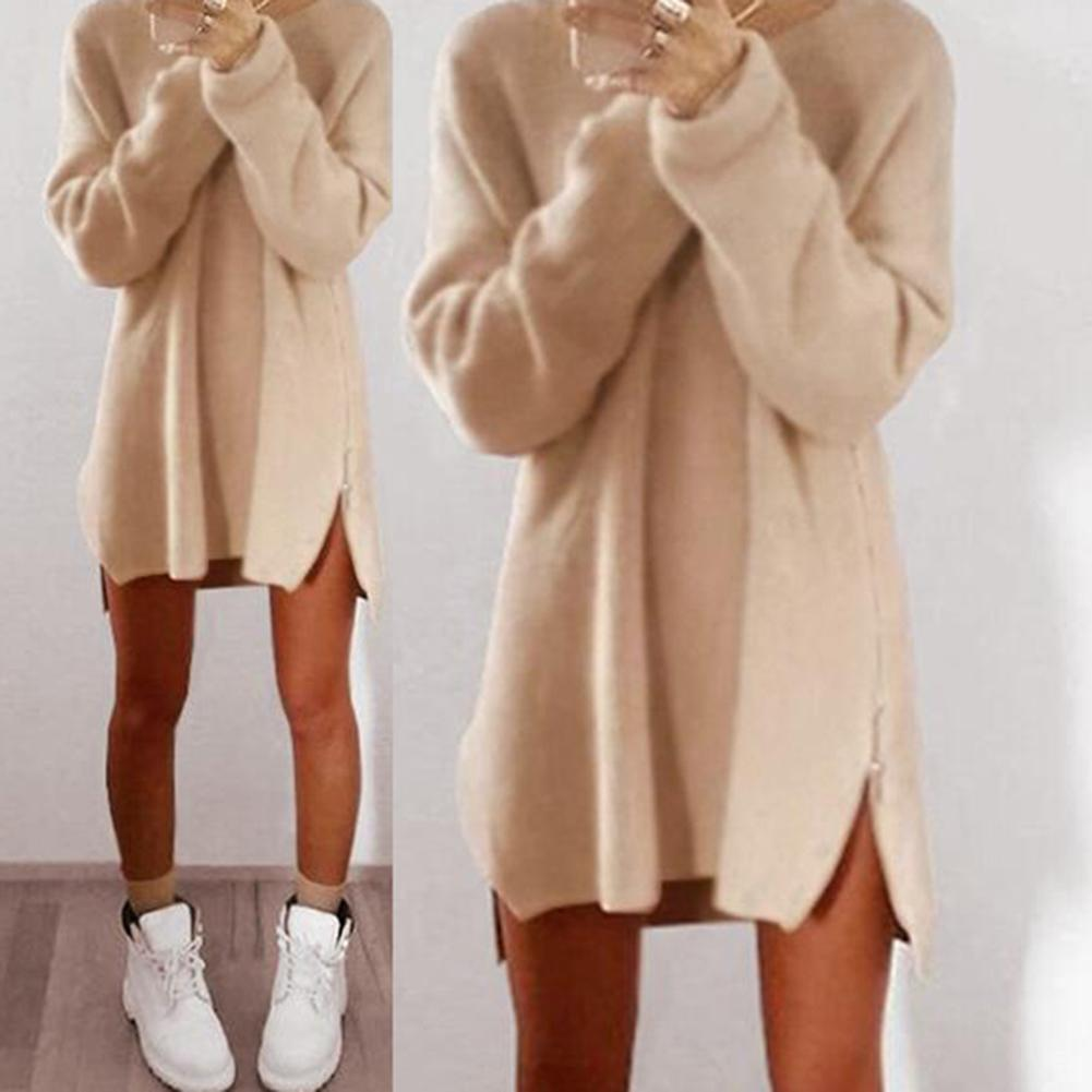 2019 Women Sexy Solid Color Long Sleeve O Neck Sideway Zip Loose Mini Sweater Dress Christmas Gift For Female Friend
