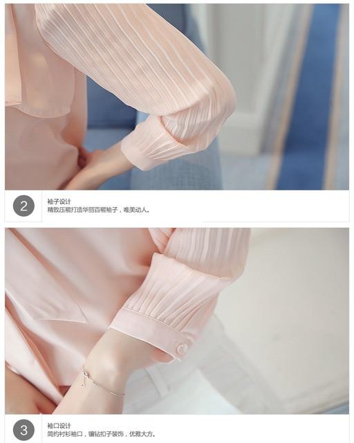 Elegant New Korean Chiffon White Shirt Summer Bow Tie Collar Ruffle Slim Office Blouse Women Casual Top Work Ropa Para Mujeres 6