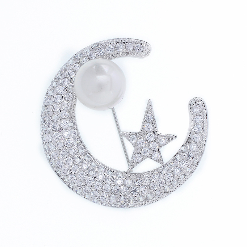 Elegant Moon Star Rhinestone Brooches for Women Copper Jewelry Luxury Crystal Zircon Pearl Brooch Pin Scarf Collar Lapel Pins