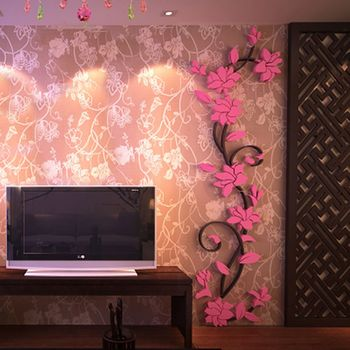 Fashion 3D DIY Removable Art Vinyl Wall Stickers Vase Flower Tree Decal Mural Home Decor For Home Bedroom Decoration Y13 10
