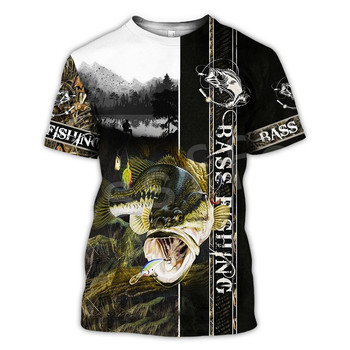 Tessffel New Fashion Animal Art Marlin Bass Hunting Fishing Hunter Camo Casual 3DPrint Unisex T-shirt Short sleeve Men/Women s-5 1