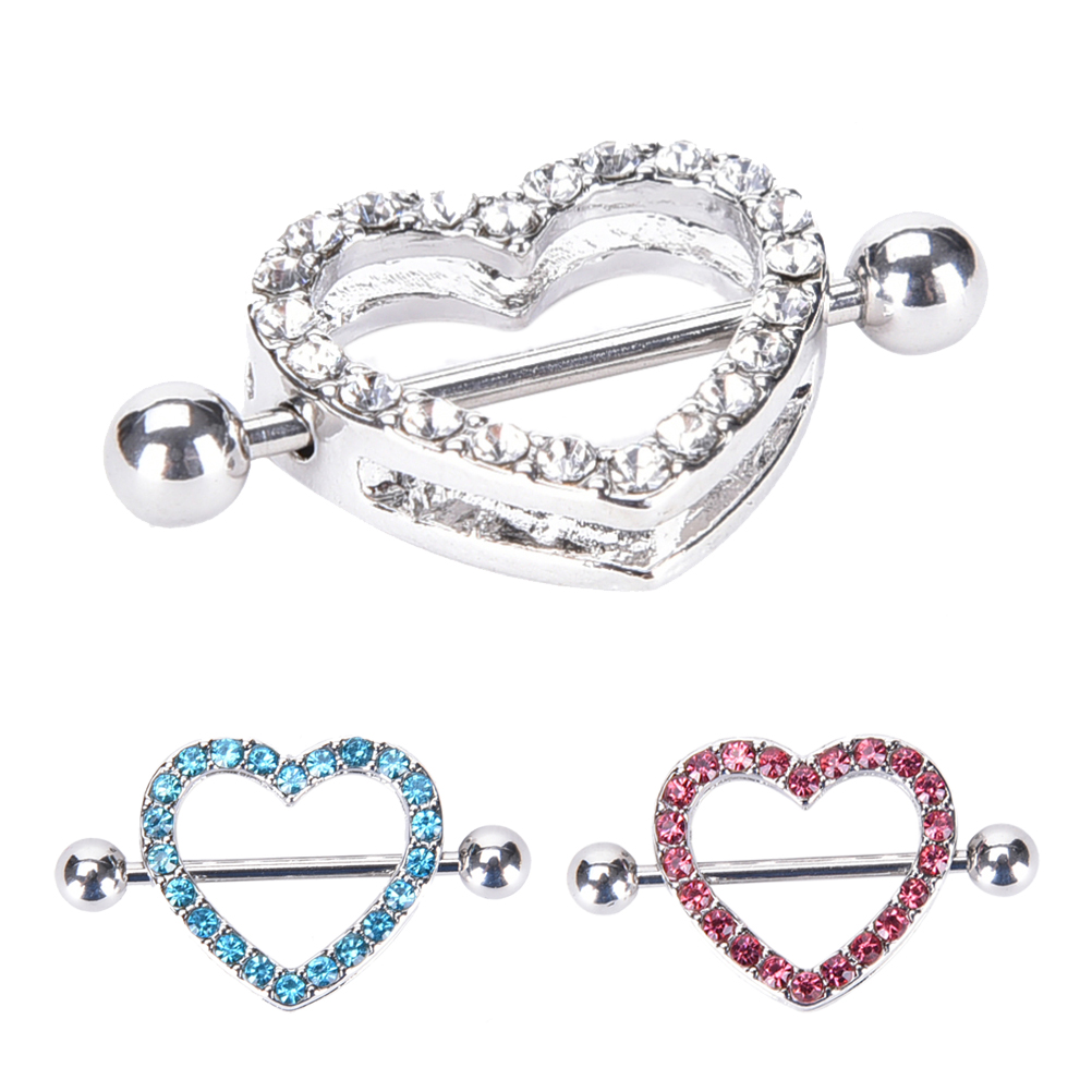 2Pcs Nipple Shield Bar Rings Pink Heart Barbell Body Piercing Jewelry Gift