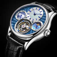 Guanqin 100% Real Tourbillon reloj mecánico para hombre relojes de pulsera para hombre marca superior reloj de esqueleto de lujo reloj para hombre reloj Masculino