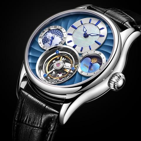 Relógios de Pulso dos Homens Guanqin Real Tourbillon Relógio Mecânico Masculino Marca Superior Luxo Esqueleto Homem 100%