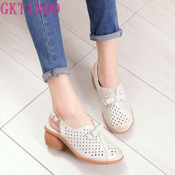 GKTINOO High quality Genuine leather shoes summer sandals For Woman Med heels shoes Hollow Women Sandal