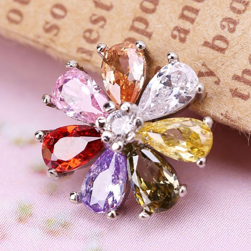 1Pc 1Pc 12mm Glitter Zircon Round Colorful Rainbow Flower Shape Decorative Buttons With Metal Loop Shank Hole Sewing Clip Buckle