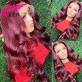 KRN 99J красный бордовый 180% Плотность Remy бразильские человеческие волосы с ребенком волнистые волосы парик 13x4 кружевные передние парики для ж...