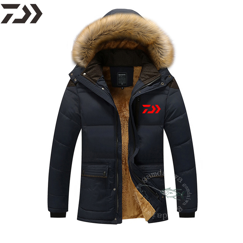 Daiwa Clothing Cotton Men's Winter Velvet Jackets Fishing Suits Warm Jackets Outdoor Camping Ice Fishing Coat Windproof Hoodies