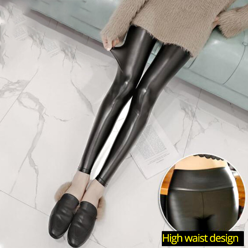 Black Summer PU Leather Pants Women High Waist Skinny Push Up Leggings Sexy Elastic Trousers Stretch Plus Size Jeggings 2020
