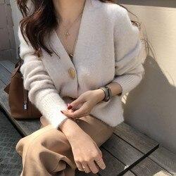 Mooirue Autumn Women Soft White Knitted Cashmere Sweater Double Button Women Warm Jumper V-Neck Winter Sweater 6