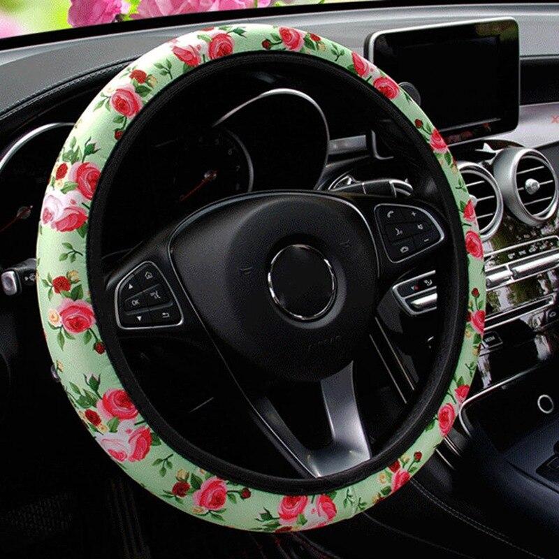 Универсальный кожаный чехол рулевого колеса автомобиля, противоскользящие чехлы на руль автомобиля с розами для женщин и девочек