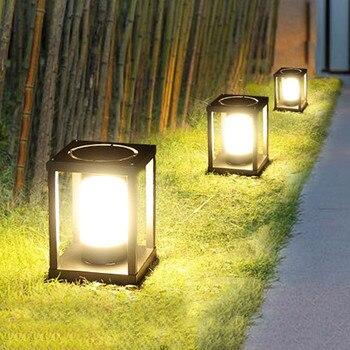Thrisdar E27 Outdoor Garden Fence Pillar Lamp Villa Parking Courtyard Gate Column Light Street Post Cap Lamp Pathway Lawn Light