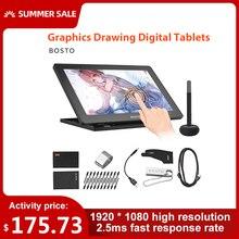 BOSTO 16HD 15.6 Pollici IPS Grafica Disegno Tavolette Digitali di Visualizzazione del Monitor 8192 Livello di Pressione con Ricaricabile Penna Dello Stilo