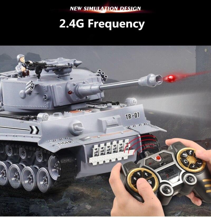 Nouvelle mise à jour bataille réservoir RC 1:16 2.4G 47cm grande taille télécommande militaire réservoir de bataille avec fumée BB balle lumière LED cadeau jouet