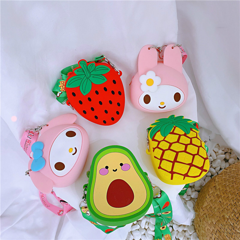 Funny Fruit Bags For Kids Girl Mi Ni Coin Purse Kawaii Pink Wallet Change Wallet Pouch Silicone Zipper Coin Pouch Bag With Strap