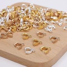 100 pces 9mm pingente clipe fecho pitada clipe fiança pingente conectores contas de fiança jóias descobertas acessórios material cobre