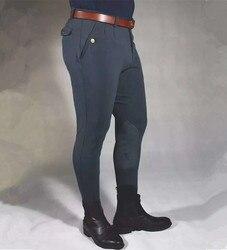Pantalones para montar a caballo, ropa para hombre, pantalones elásticos largos, calzones ecuestres para hombre, pantalones para motociclista, equipo para montar a caballo Delgado