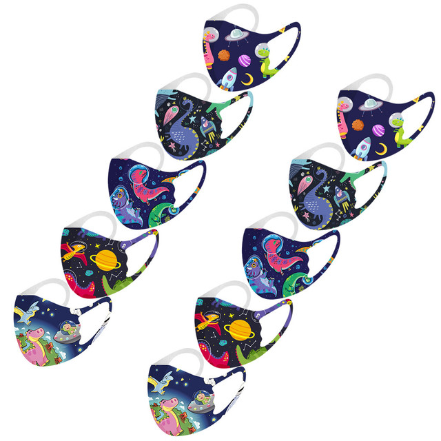 10PCS Kids Face mouth Masks Washable Reusable Face Cover Fashion Printed Ice Silk Mask Breathable Mouth Mask Cover Mascarilla#3 5