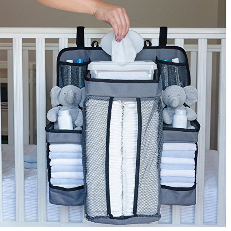 Bed Storage-Bag Diapers Bedside-Organizer Hanging Portable White/grey Bedding-Set Pocket