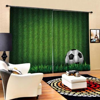 green curtains photo Blackout Window Drapes Luxury 3D Curtains For Living room Bed room Office Hotel Home sports ball curtains