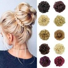 XINRAN синтетические волосы, шиньоны эластичная резинка для волос выдвижения волос ленты хвостик волос клип пряди на заколках Donut булочки