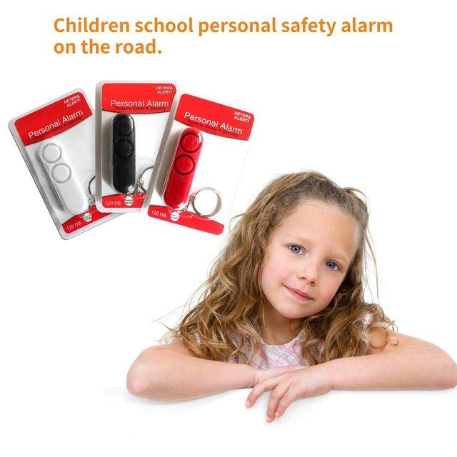 120dB Self Defense Anti-rape Device Dual Speakers Loud Alarm Alert Attack Panic Safety Personal Security Keychain Bag Pendanthot 4