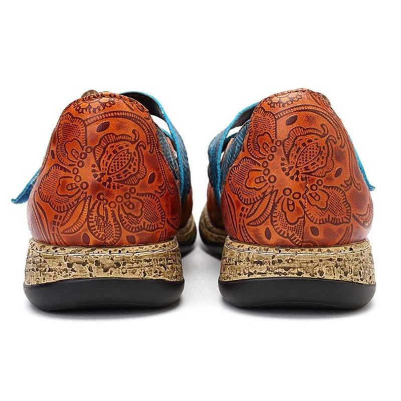 Vintage Floral Echtes Leder Spleißen Farbige Nähte Haken Schleife Flache Schuhe Frühling Sommer Casual Frauen Flache Schuhe Neue