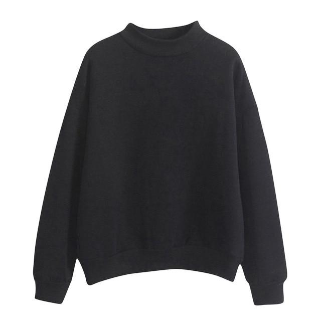 Velvet Women Sweatshirt Autumn Harajuku Style Lovely Solid Color Fleece Winter Hoodies Turtleneck Pastel Colors Jumper Tracksuit 2