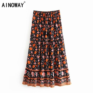 Image 1 - Đầm Sang Trọng Nữ Họa Tiết Bãi Biển Bohemia Váy Nữ Cao Lưng Thun Rayon Chữ A Boho Maxi Váy Femme