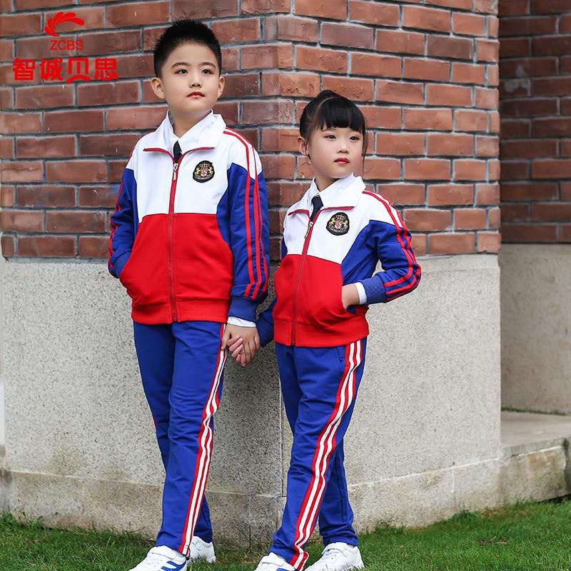 New Style Kindergarten Suit Spring And Autumn Set Young STUDENT'S School Uniform Children Business Attire British Style Baseball