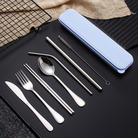 Feiqiong Cool Metal Dinnerware Set New Style Stainless Steel Straw Spoon Fork Chopsticks+Cleaning Brush Travel Camping Kit Tool|Dinnerware Sets|   -